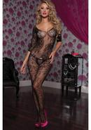 3/4 Sleeve Opencrotch Bodystocking-blk-o