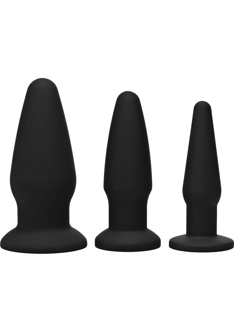 Trinity 4 Men Silicone Anal Training Set (3 Pack) - Black
